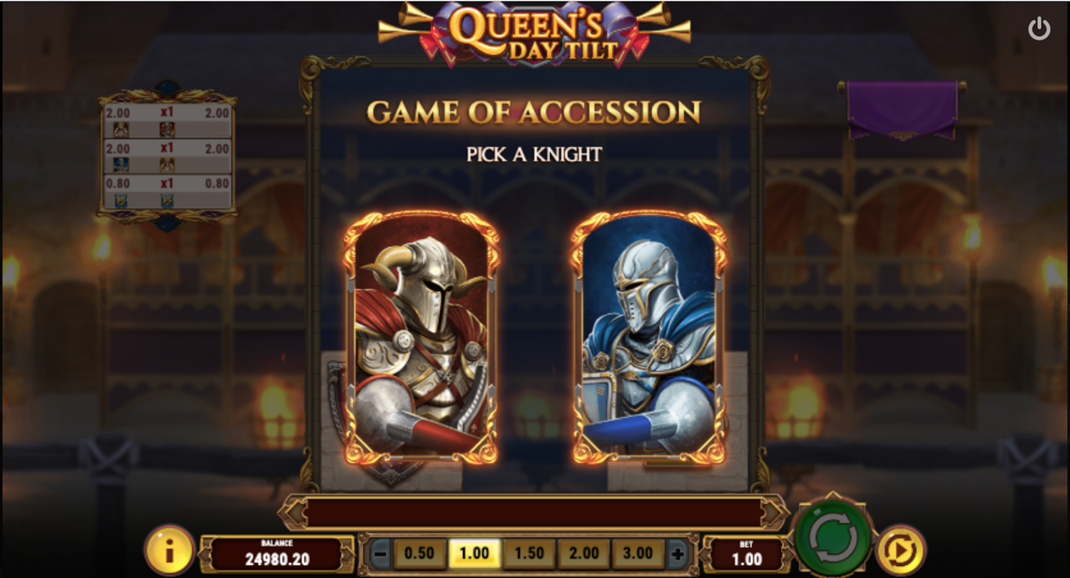 Бонусная игра Game of Accession в Queen's Day Tilt