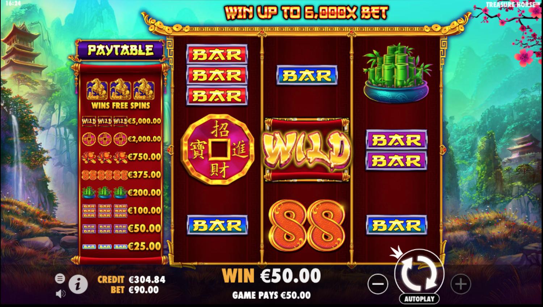 Vitória na slot Treasure Horse