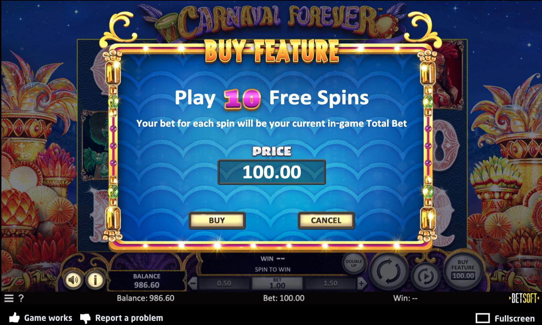 Opção de compra da funcionalidade do Carnaval Forever