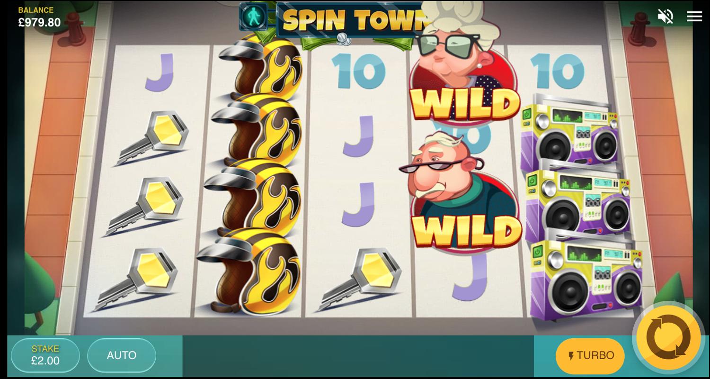 Přechod ospalých wild symbolů na automatu Spin Town
