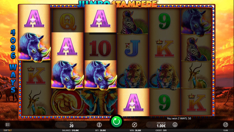Ein Gewinn beim Jumbo Stampede Slotspiel