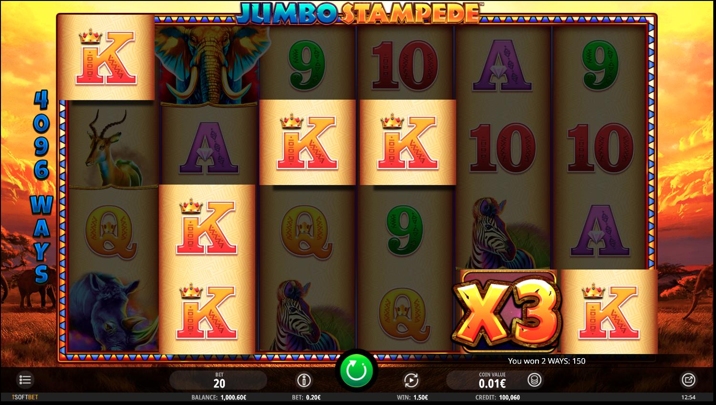 Comodín con multiplicador en Jumbo Stampede