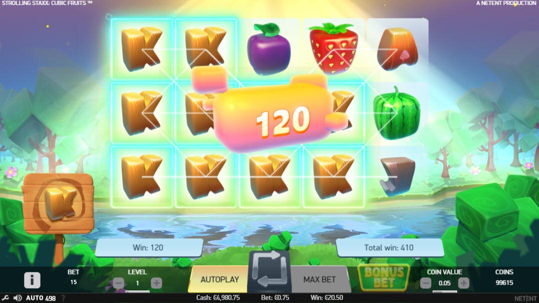 Výhra při opětovném zatočení na automatu Strolling Staxx Cubic Fruits