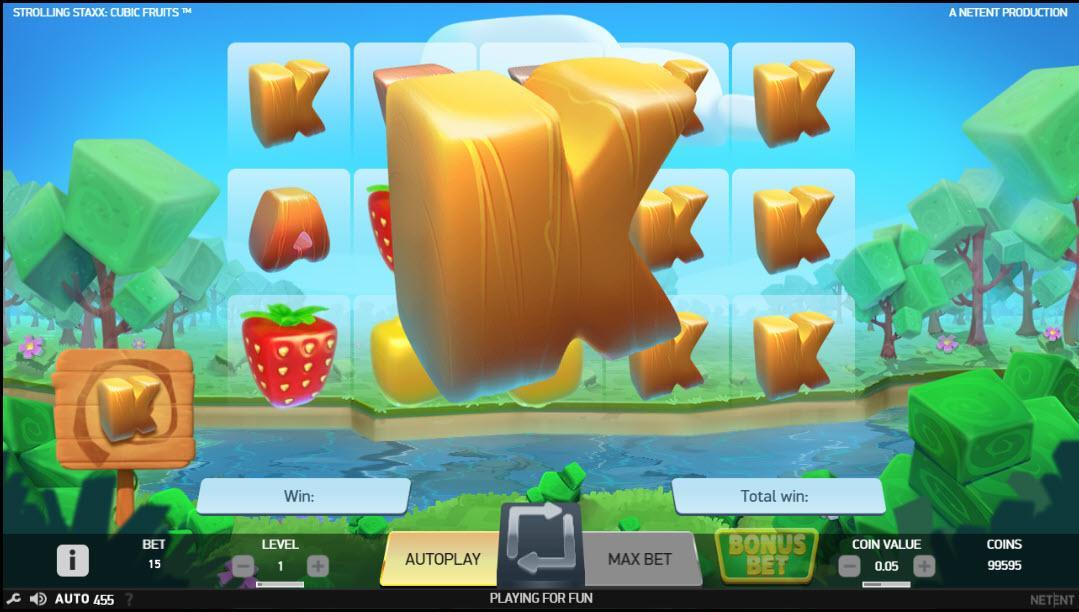 Šance na bonusovou sázku na automatu Strolling Staxx Cubic Fruits