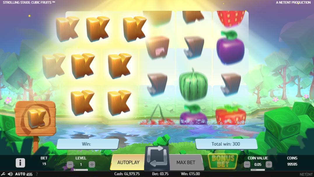 Funkce opětovného zatočení na automatu Strolling Staxx Cubic Fruits