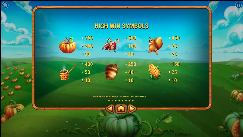 Виплати за топові символи в Pumpkin Patch