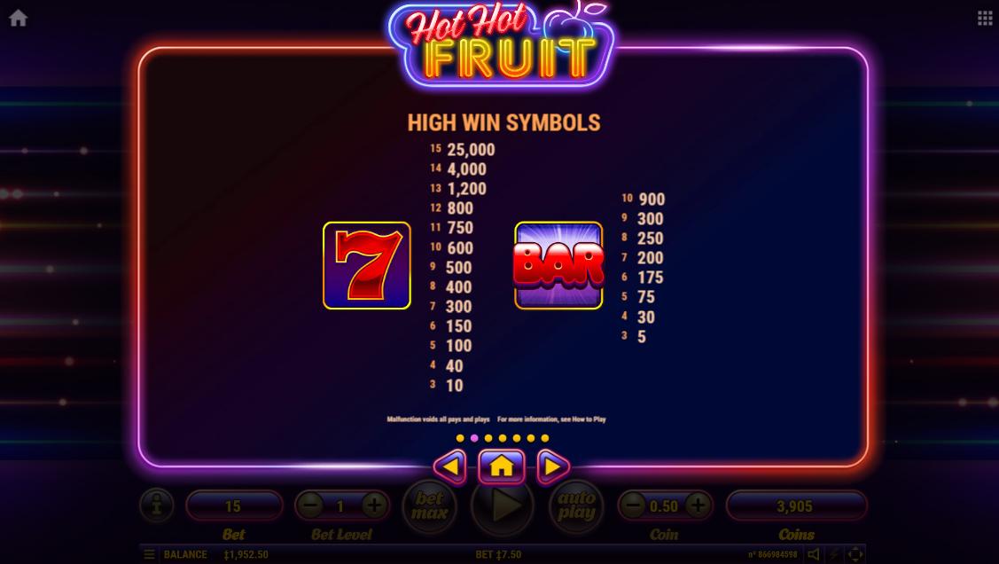 Tabla de pagos de los símbolos más importantes de Hot Hot Fruit