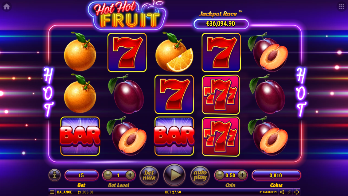 Función aleatoria en la tragamonedas Hot Hot Fruit