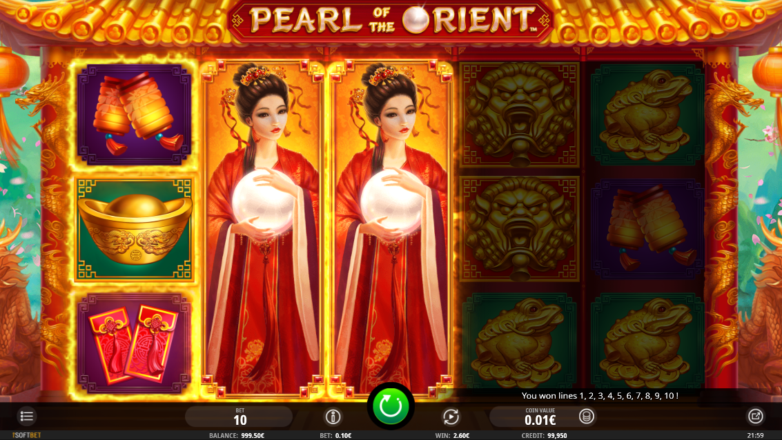 Vinst i Pearl of the Orient med 2 expanderande wilds