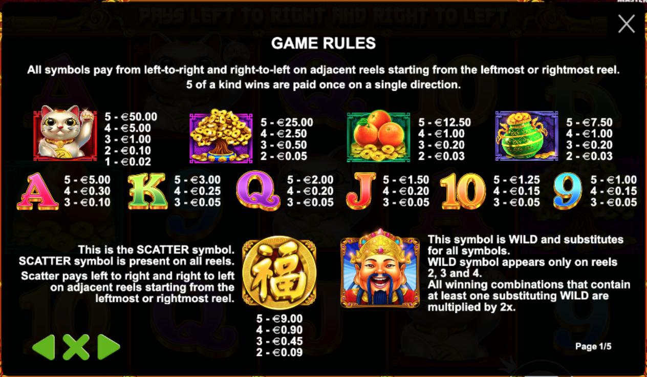 Таблица на плащанията в играта Master Chen's Fortune