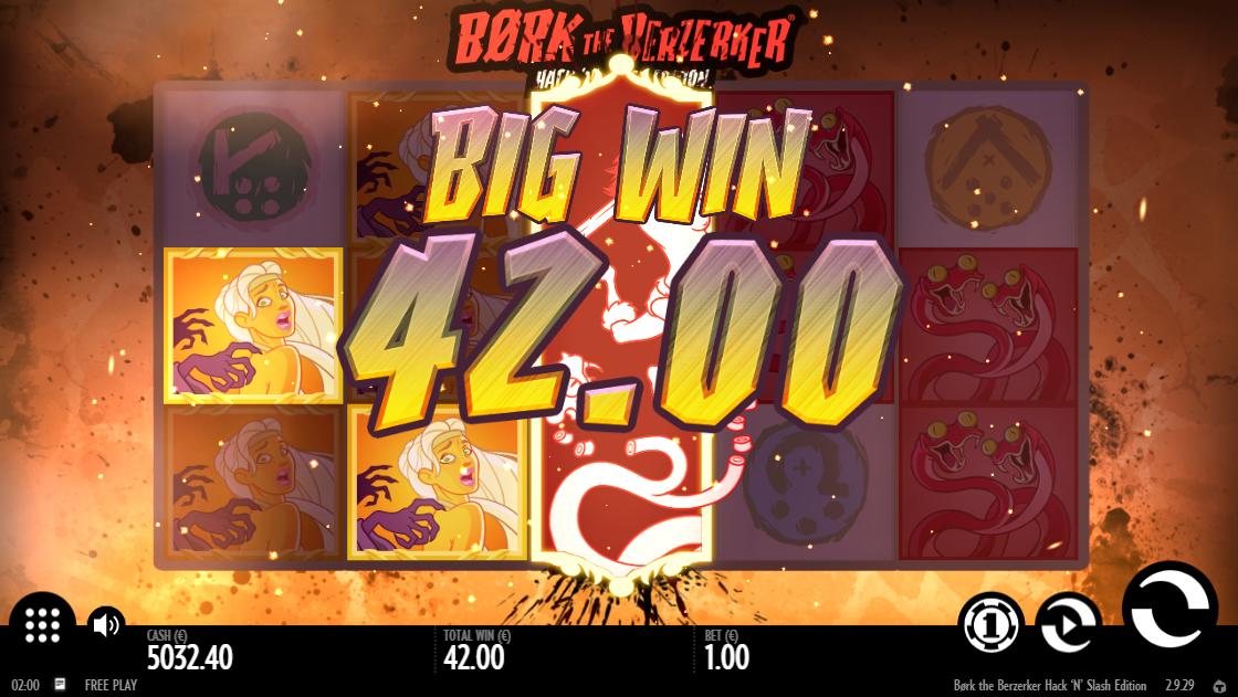 Крупный выигрыш за символы с высокой выплатой в Bork the Berzerker