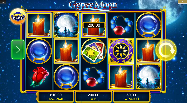 Ganancia de cinco símbolos en Gypsy Moon