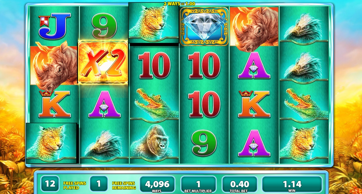 Raging Rhino Wild multiplier in free spins