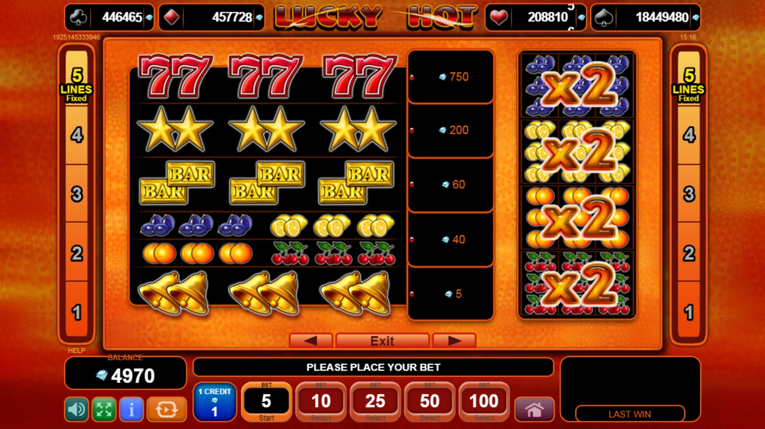 Lucky Hot slot paytable