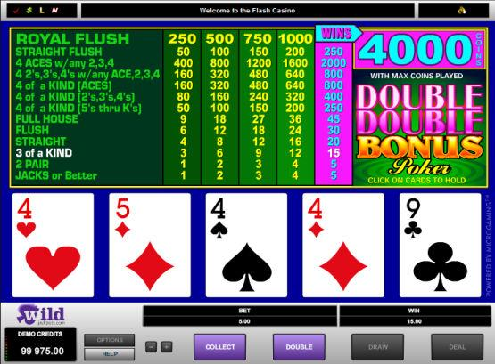Double Bonus Poker Free Play - No Download Required